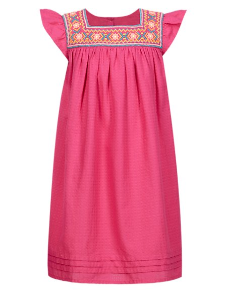 Pure Cotton Embroidered Girls Dress (1-7 Years)