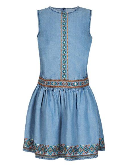 Tencel® Embroidered Denim Dress (1-7 Years)