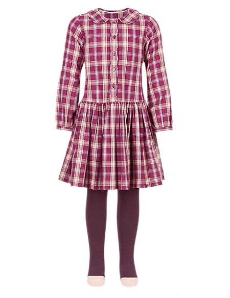 2 Piece Cotton Rich Tartan Checked Twill Dress & Tights Outfit (1-7 Years)