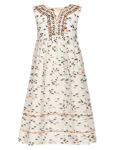 Pure Cotton Animal Print Maxi Girls Dress (1-7 Years)