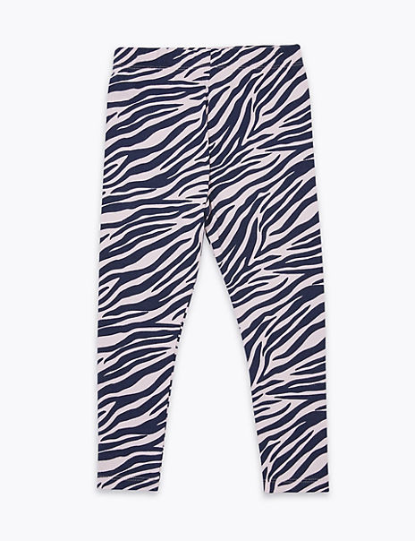 Cotton Rich Zebra Print Leggings (2-7 Years)