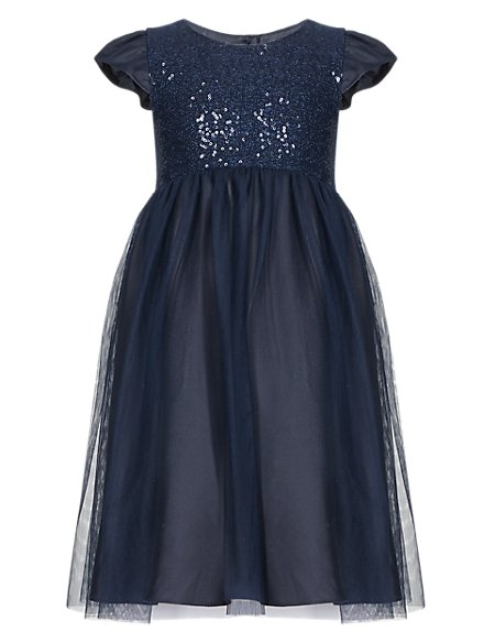 Sequin Embellished Mesh Dress (1-7 Years)