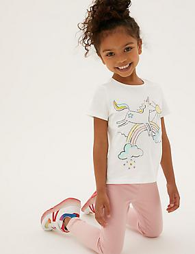 Camiseta 100% algodón con estampado de unicornios (2-7años)