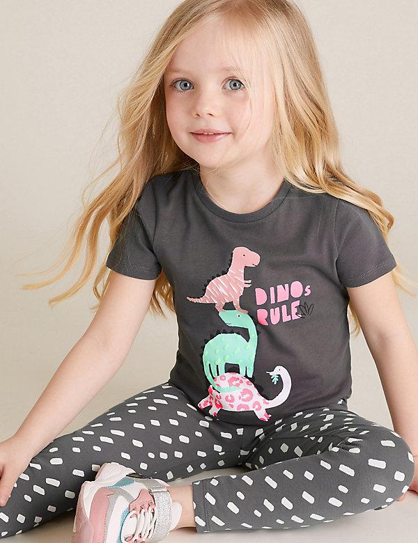 T-shirt 100% coton à motif dinosaure (du 2 au 7ans)
