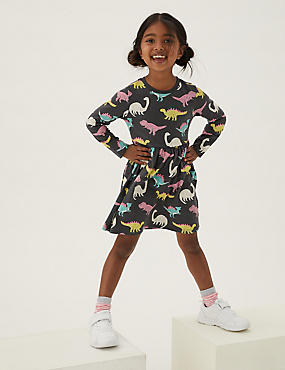Pure Cotton Dinosaur Dress (2-7 Yrs)