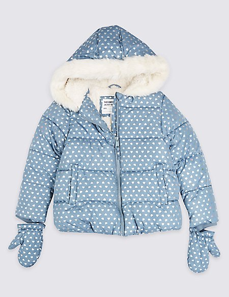 All Over Heart Print Coat (3 Months - 7 Years)