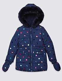 All Over Print Faux Fur Coat with Stormwear™ (3 Months - 7 Years)
