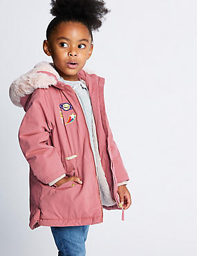 Badged Faux Fur Parka (3 Months - 7 Years)