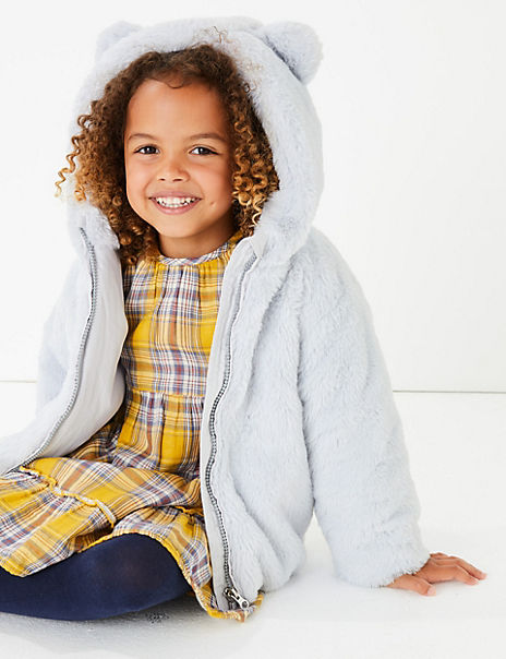 Hooded Faux Fur Coat (3 Months - 7 Years)