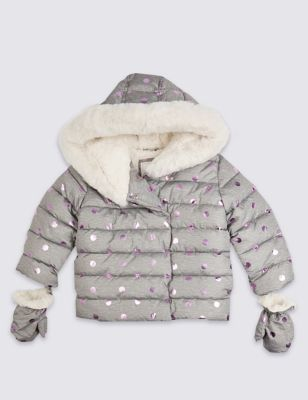 Spot Print Padded Coat (3 Months   7 Years) by Marks & Spencer
