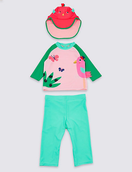 3 Piece Bird Swimsuit Set (3 Months - 7 Years)