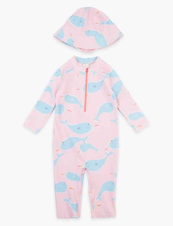 NEW M/&S Baby Girls 3-6 months UV Sun Safe Swim Suit Vest Pants Hat UPF50 3 PC