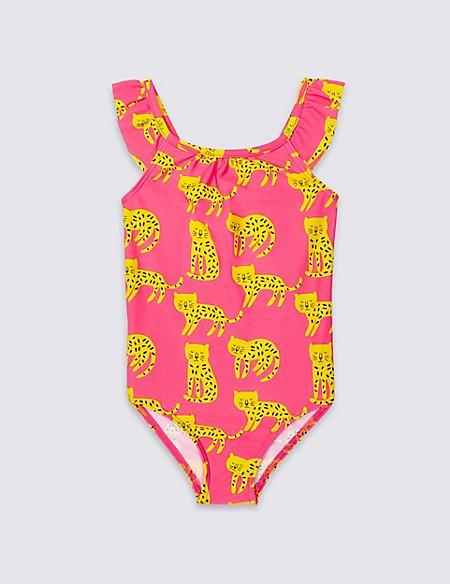 Animal Print Frill Sleeve Swimsuit (0-5 Years)
