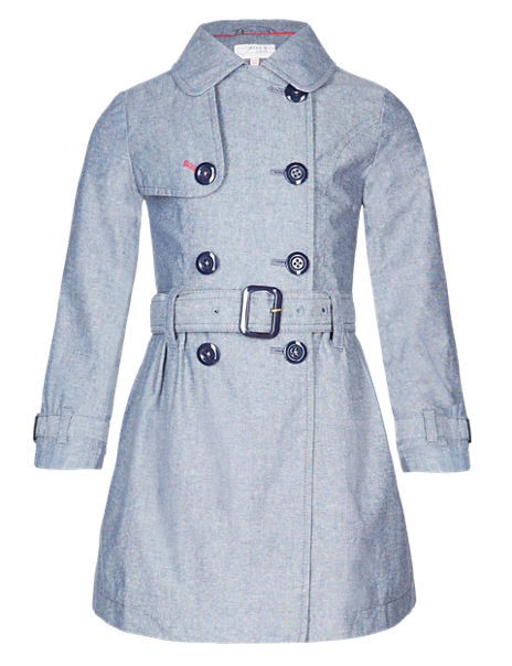 Pure Cotton Chambray Belted Trench Mac (1-7 Years)