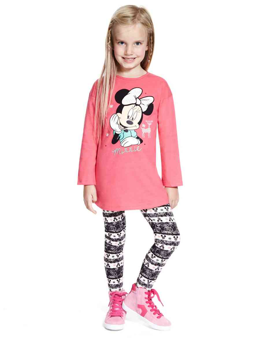 741923dc583 2 Piece Cotton Rich Minnie Mouse Tunic & Leggings Outfit with StayNEW™   M&S