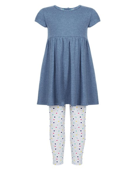 2 Piece Cotton Rich Tunic & Leggings Girls Outfit (1-7 Years)
