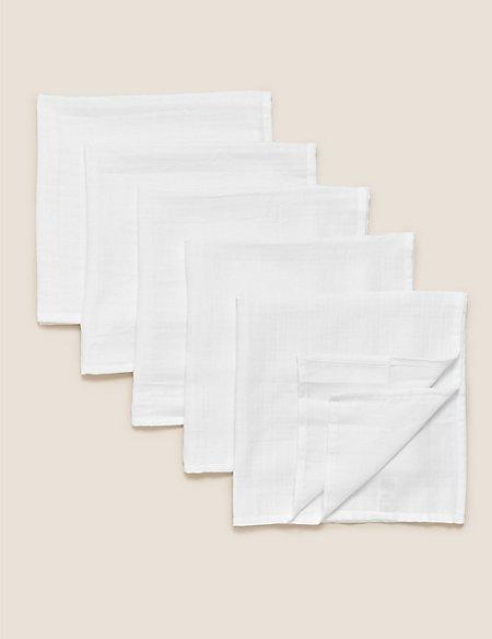 5 Pack Organic Cotton Muslin Squares