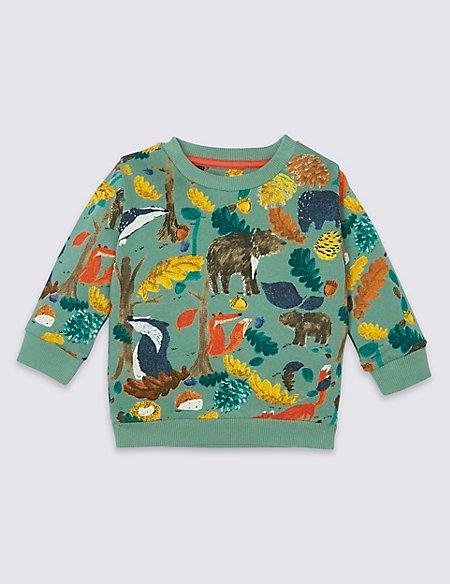 Pure Cotton All Over Print Sweatshirt