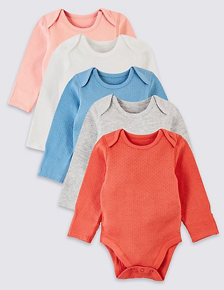 5 Pack Organic Cotton Pointelle Bodysuits