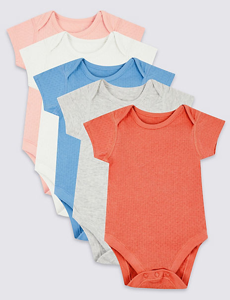5 Pack Organic Pure Cotton Pointelle Bodysuits