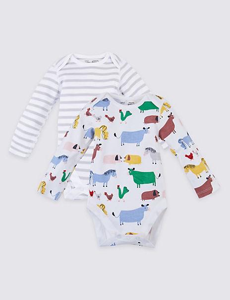2 Pack Dreamskin® Pure Cotton Farmyard Bodysuits