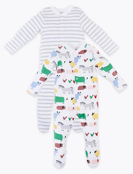 2 Pack Dreamskin® Pure Cotton Farmyard Sleepsuits