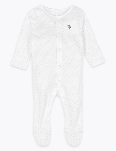 Organic Cotton Spotted Duck Sleepsuit