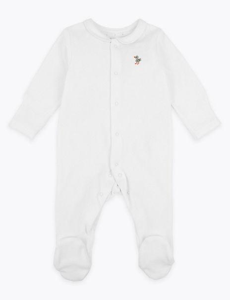 Organic Cotton Velour Duck Sleepsuit
