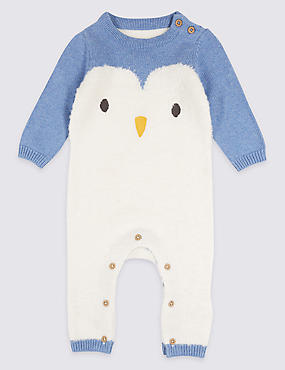 Cotton Blend Penguin Intarsia Knit All in One