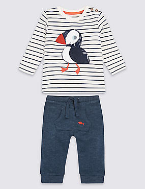 2 Piece Puffin Striped Top & Bottom Outfit