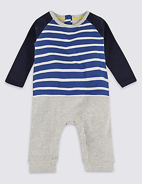 Striped Mock Pure Cotton All in One