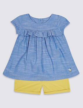 2 Piece Pure Cotton Woven Top & Shorts Outfit