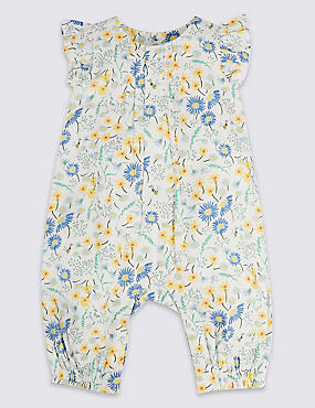 All Over Floral Print Pure Cotton Romper