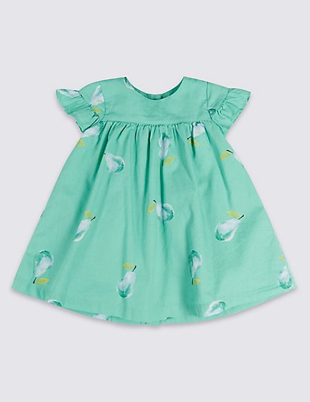Pear Print Woven Baby Dress