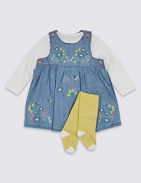 3 Piece Chambray Dress & Bodysuit with Tights