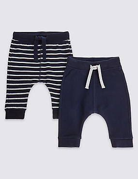 2 Pack Cotton Assorted Joggers with Stretch