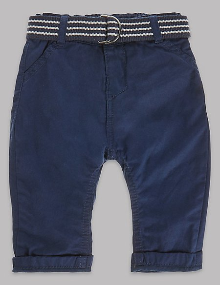 Pure Cotton Belted Chinos