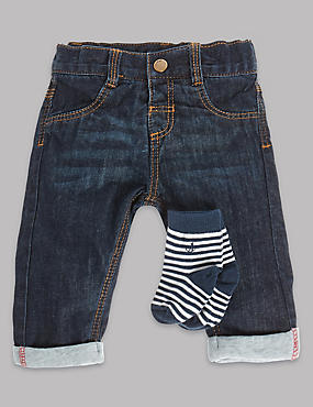 Pure Cotton Denim Jeans with Socks