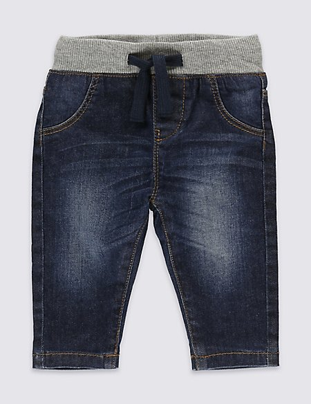 Cotton Pull-on Denim Jeans with Stretch