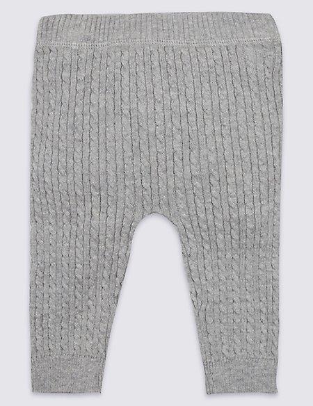 Pure Cotton Cable Knit Leggings