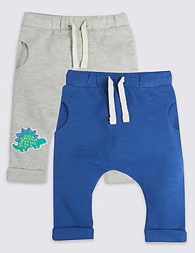 2 Pack Pure Cotton Drawstring Joggers