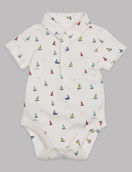 Boat Print Cotton Rich Polo Bodysuit