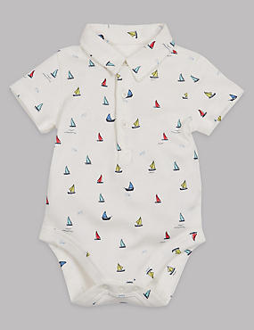 Boat Print Cotton Rich Polo Bodysuit