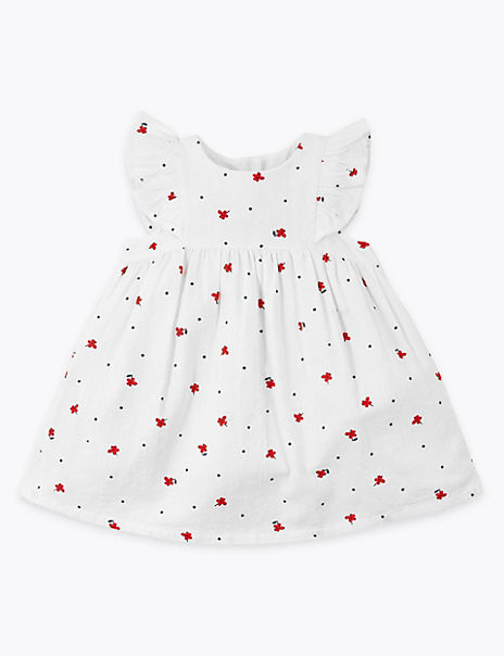 Pure Cotton Floral Print Dress (0-3 Yrs)