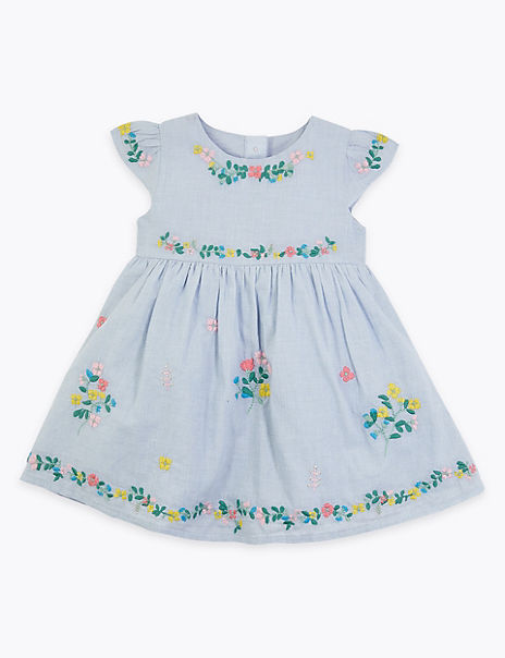 Cotton Floral Embroidered Dress