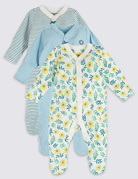 3 Pack Organic Cotton Floral Print Sleepsuits
