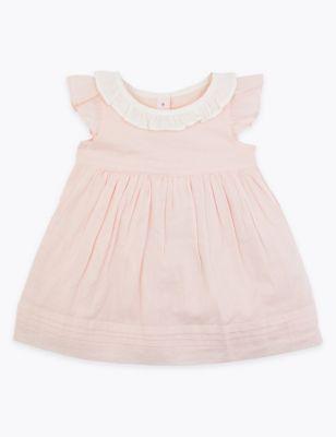 Pink frill collar baby dress