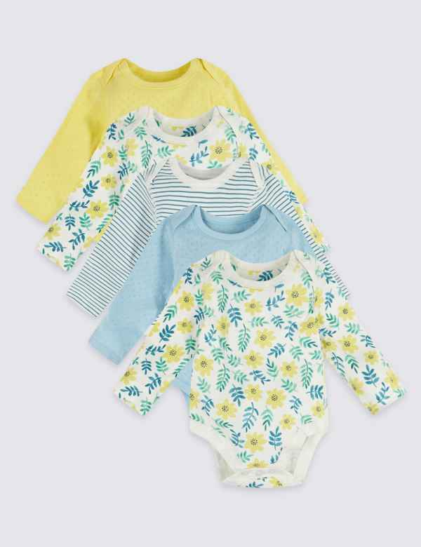 2826e798a6 5 Pack Organic Cotton Floral Bodysuits