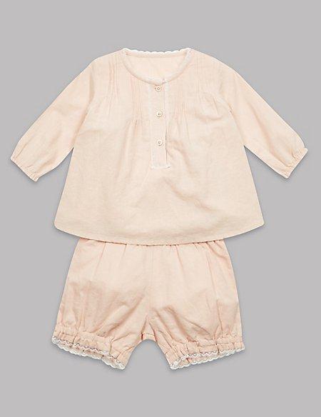 2 Piece Cotton Rich Top & Shorts Outfit