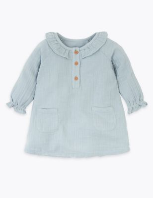 Dusty blue cotton frill collar dress
